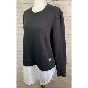Adidas Black & White Dual Crew Neck Sweatshirt